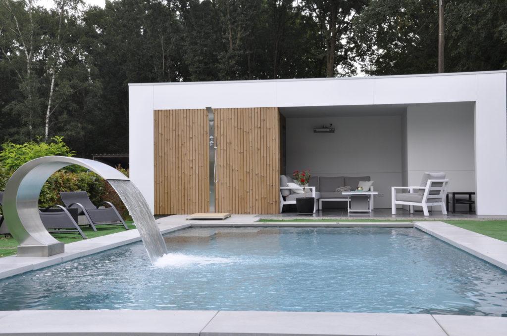 Inox zwembad met fontein en douche