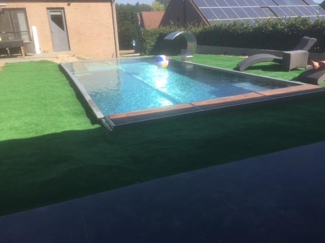 Inox zwembad met fontein